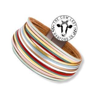 Boho Multicolor Genuine Leather Wrap Cuff Bracelet